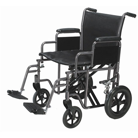 A heavy duty travel wheelchair