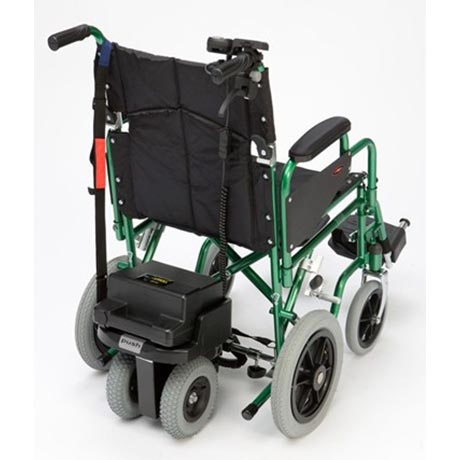 Dual wheel powerstroll fitted onto a wheelchair