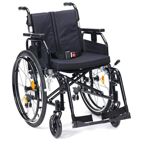 The Enigma Super Deluxe Wheelchair shown in black