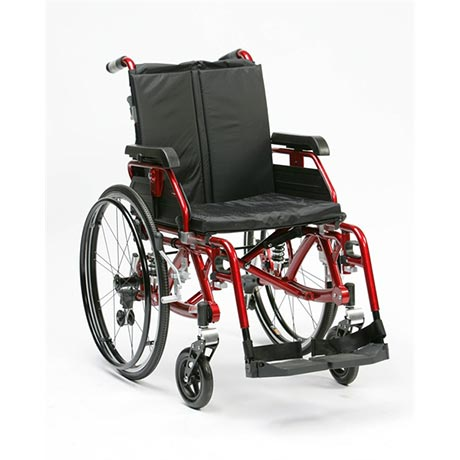 The Enigma K wheelchair with suspension in red