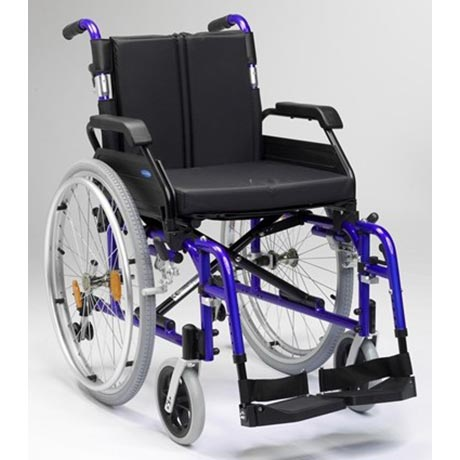 The Enigma XS Aluminium Self Propel Wheelchair shown in blue