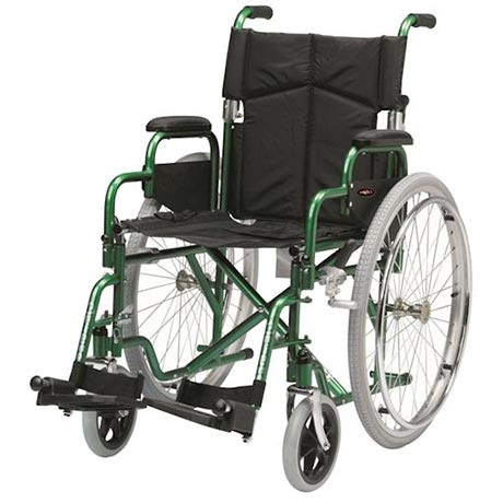 The Enigma Superior Steel Wheelchair Self Propel shown in green