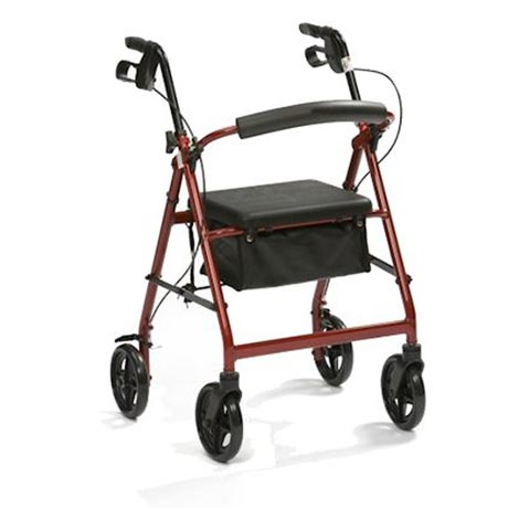 The lightweight aluminium rollator shown in red