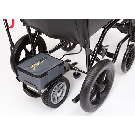 Lightweight dual wheel powerstroll fitted onto a wheelchair