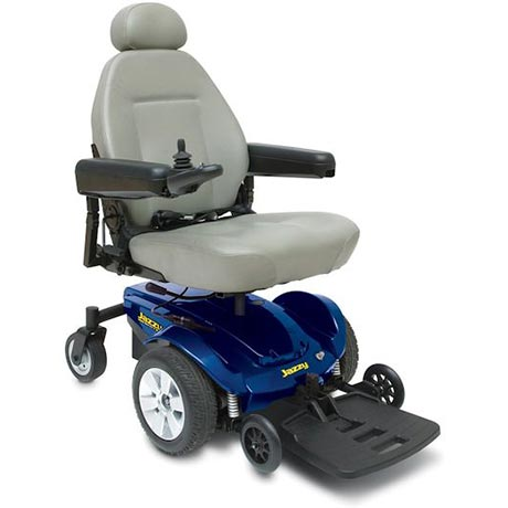 A blue Pride Jazzy Select Powerchair