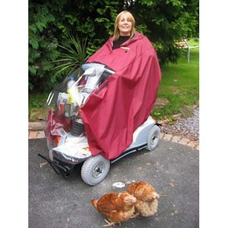 A red mobility scooter rain cape