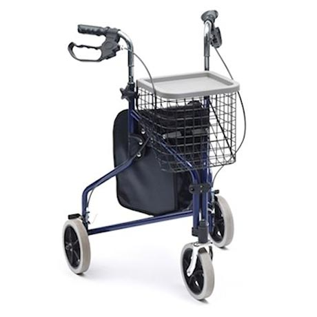 The steel tri walker shown in blue with a basket attached.