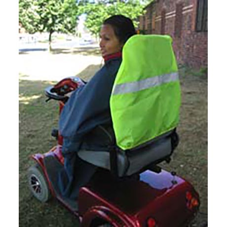 A High Visibility Seat Cover fitted onto a mobility scooter