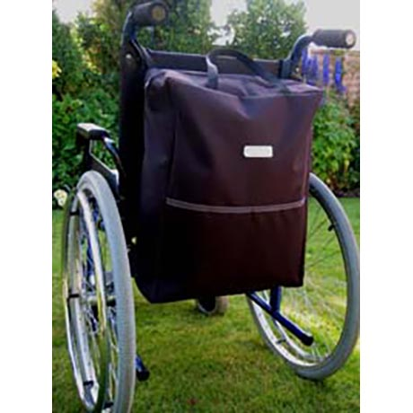 Large wheelchair bag shown fitted onto a wheelchair