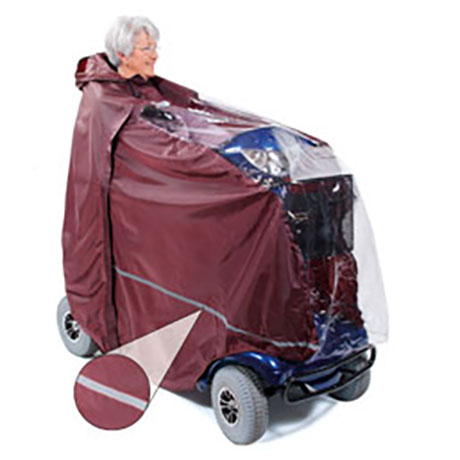 A Mobility Scooter Cape shown in burgundy