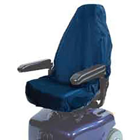 A mobility scooter Seat Cover shown fitted in blue
